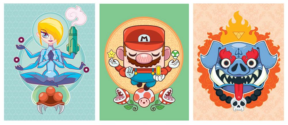 """Samus: Devi of War"", ""Mario: Bringer of Luck and Prosperity""  & ""Ganon: Destroyer of Hyrule"" par Craig-Parrillo"