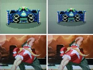 À gauche, une image sans scanline ; à droite, une image telle qu'elle est affichée sur un téléviseur CRT