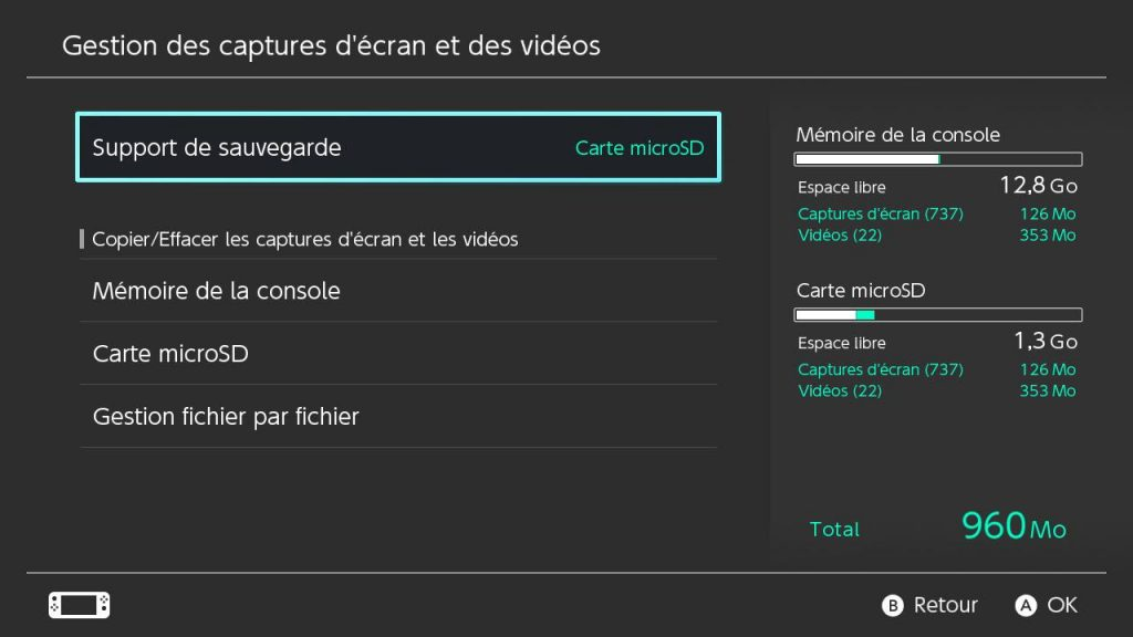 Gestion des captures dans l'interface de la Switch