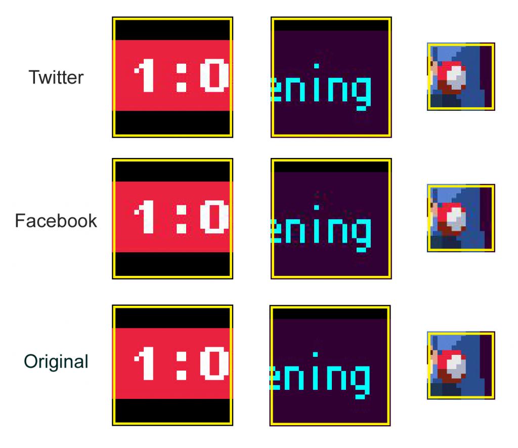 Kamiko, comparaison entre l'originale, Facebook et Twitter