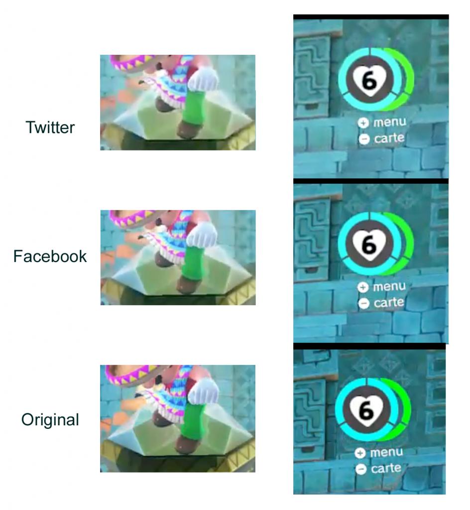 Mario Odyssey : comparaison de captures d'écran des vidéos originale ou envoyées sur Facebook et Twitter