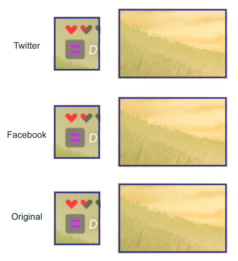 The Legend of Zelda: Souffle Sauvage, comparaison entre l'originale, Facebook et Twitter